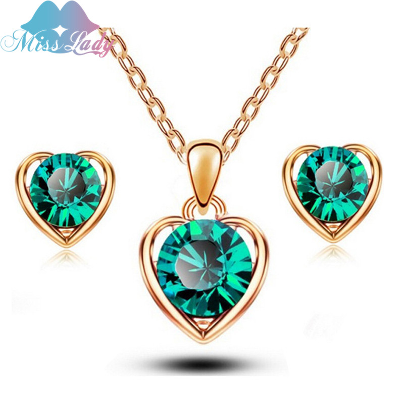 Miss Lady Rose Gold Pendant Necklace Rhinestone Crystal design Heart Jewelry Sets s Fashion women MLM0290 - Show store
