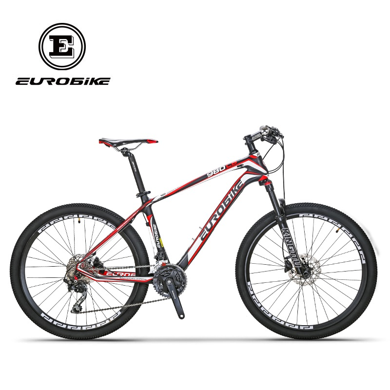 EUROBIKE 26 Inç Karbon Fiber Dağ Bisikletleri Çift Hidrolik Disk - Bisiklet Sürmek