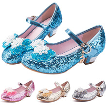 Children Sandals For Girls Weddings Crystal High Heel Princess Bowknot Pearl Shoes Kids Party Dress ShoesP25