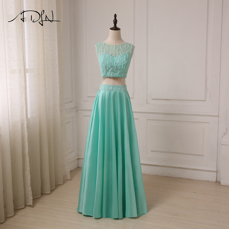ADLN Sexy Two Pieces Evening Dresses Crop Top Beaded Sequined Sparkling Party  Formal Gowns Taffeta Long b88a563659f5