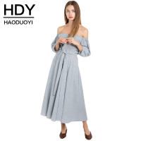 HDY Haoduoyi 2017 Fashion Backless Maxi Dress Women Off Shoulder Female Pleated Dress Sweet Striped Ladies