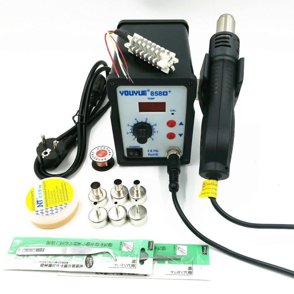 700 Вт фена 858D + ESD паяльная станция Сварка BGA переделка спайки станция с керамическим нагревателем 6 сопел сварочная паста