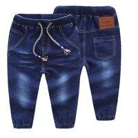 Uszkodzony Otwór Spodnie dla dzieci Chłopcy Dziewczęta Legginsy Jeans Dzieci Niebieski Pies Jeansowe Spodnie W Pasie Sznurkiem Maluszek mały Slacks