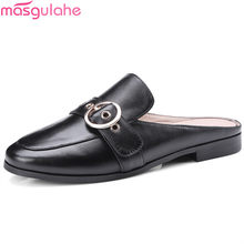 Masgulahe 2018 summer new shoes woman round toe casual mules shoes flat  with women genuine leather fb7140130139
