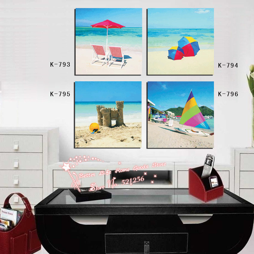 Modern Wall Art Home Decoration Printed Oil Painting Pictures No Frame 4 Panel Beautiful Beach Fun Landscape Canvas Prints Decor