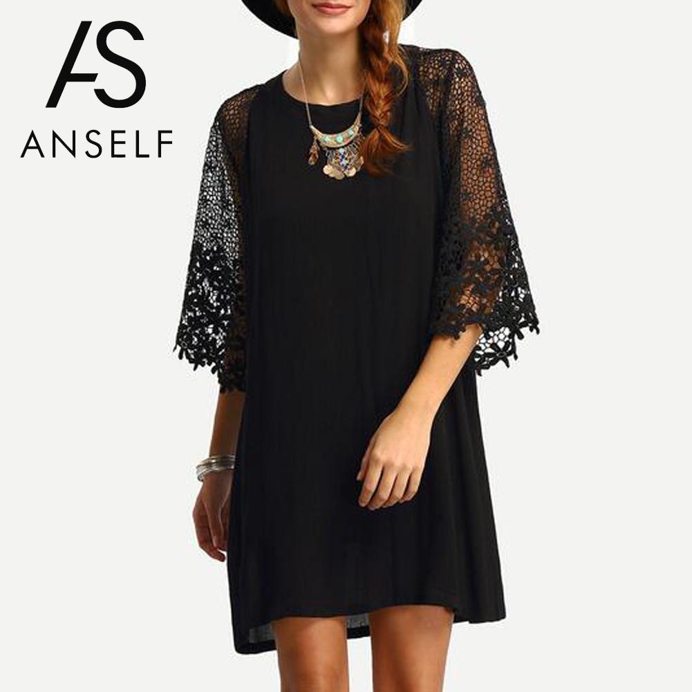 000a4e6d0c0 Anself Women Loose Black Dress Sheer Crochet Lace Hollow Out Sleeve Casual Short  Dress 2019 Spring