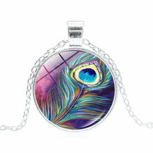 Unique colorful Feathers Peacock Necklace silver Pattern Glass Cabochon Pendant Charms Wedding Women Necklaces Jewelry 2018 New(China)