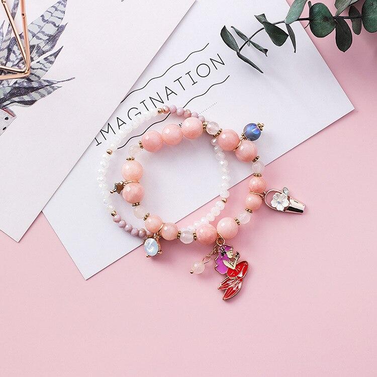 US $3 3  2018 New Daisy Flower Double Layers Boho Bracelet Sweet Mermaid  Crystal Ball Pendant Bracelets Fashion Jewelry Ornaments X4204-in Charm