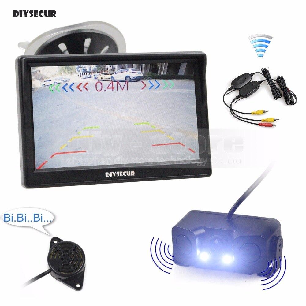 DIYSECUR sans fil 5 pouces TFT LCD affichage voiture moniteur + LED étanche Radar de stationnement capteur voiture vue arrière caméra 3 en 1