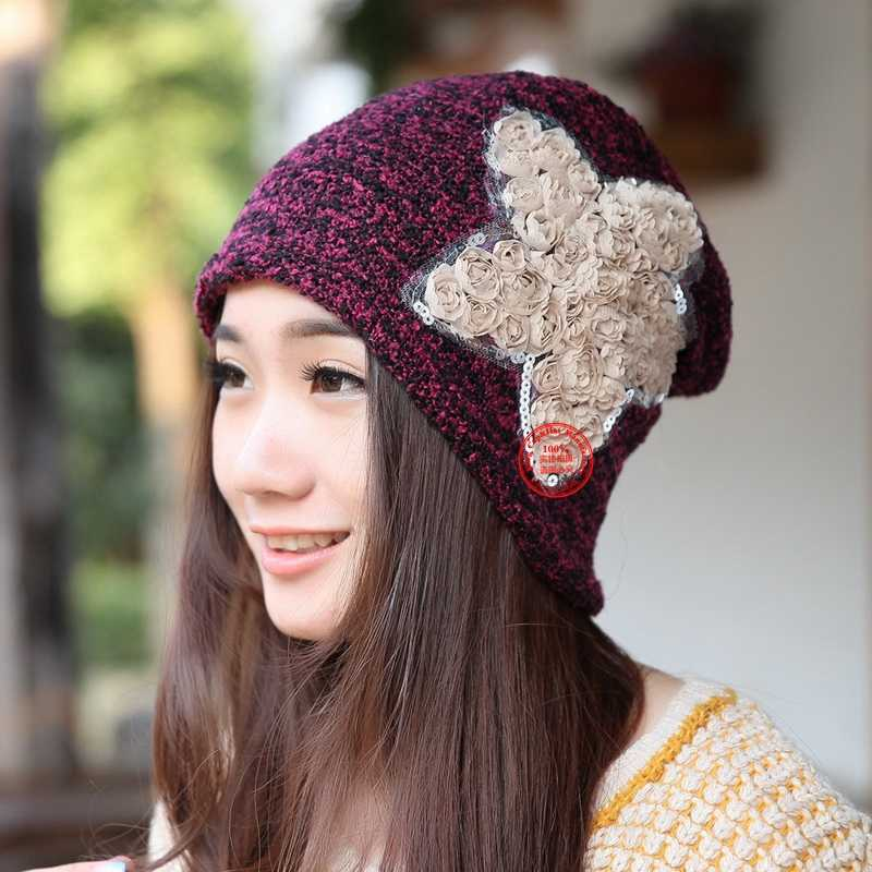 db4de59b ... hot wholesale women beautiful star fashion beanies fitted woman girl  casual winter hat spring summer outdoor ...