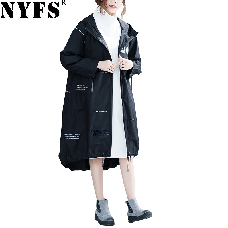 NYFS 2019 New Autumn Vintage Loose Coat Women Letter Printing Long Sleeve Office Long Trench Coat