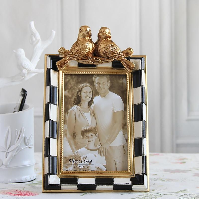 Vintage or avec des blocs noir blanc et deux oiseaux sur la branche Design de table 4x6 5x7 6x8 8x10 pouces cadre Photo en résine