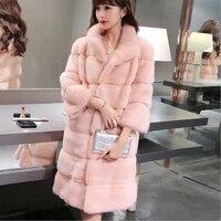 Women Real Mink Fur Coat 2017 Winter New Fashion Natural Mink Fur Coat Long Slim Genuine