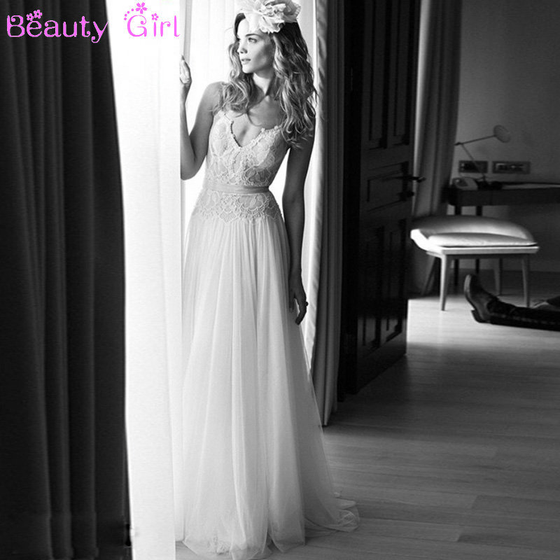 Backless Beach Wedding Dresses V Neck Flowing Vintage Boho: New Sexy Spaghetti Straps V Neck Beach Lace Tulle Backless