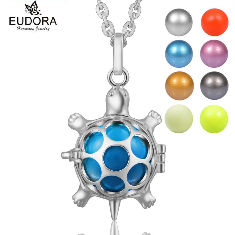 Eudora Bola Pendant Copper Metal Tortoise Guardian Angel Caller Pendants Necklace with Colorful Chime Ball Jewelry