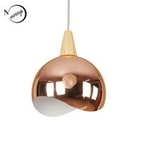 현대 간단한 거울 철 나무 펜 던 트 조명 led e27 북유럽 로프트 매달려 램프 로비 라운지 거실 침실에 대 한 2 스타일