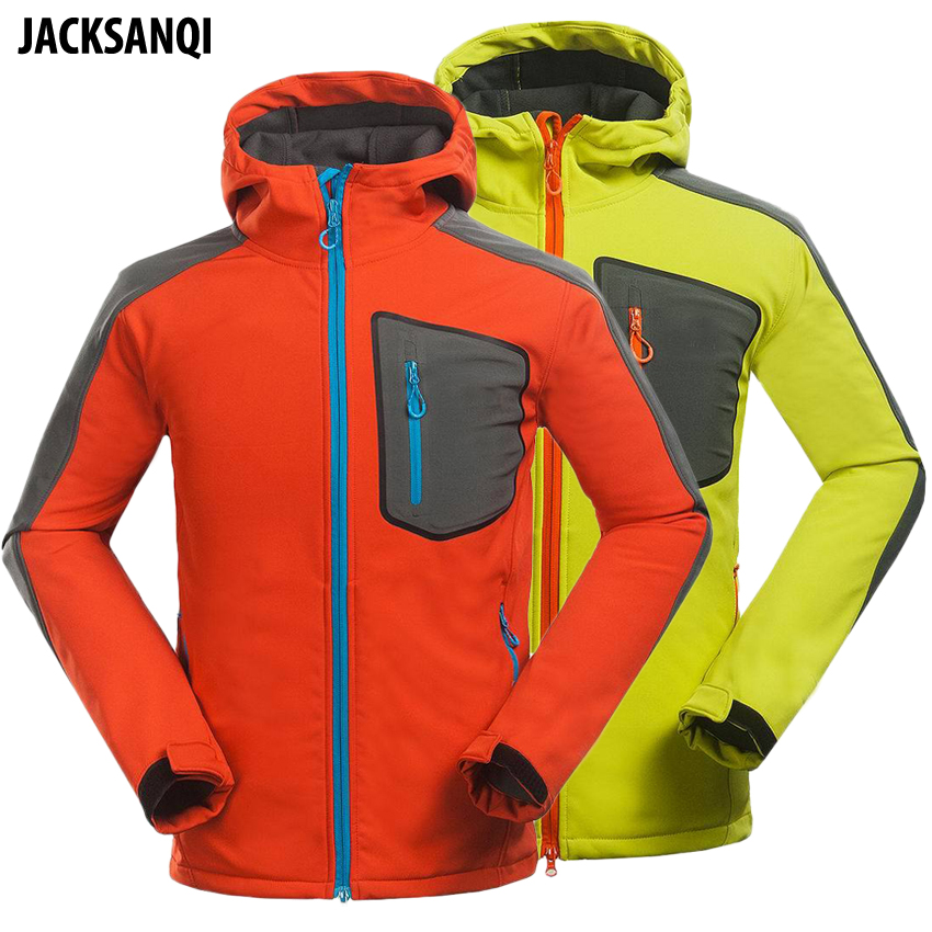 JACKSANQI Men's Outdoor Softshell Jackets Winter Fleece Thermal Coats Hiking Climbing Trekking Ski Sports Male Winbreakers RA177