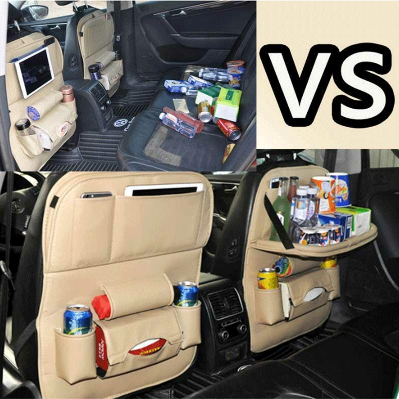 GNUPME Car Seat Organizer Leather Upgrade Plate Trays Bag Back Chair Hanging Bags Car Accessories Opening Ceremony Birthday