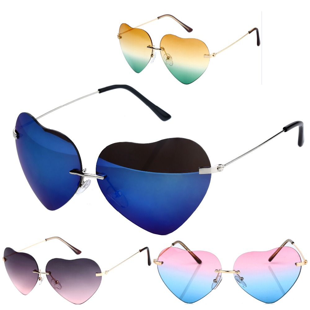 Summer Style Heart Shaped Sunglasses Women Metal Reflective Lenes Fashion Sun Glasses Men Sunglasses feminino A1