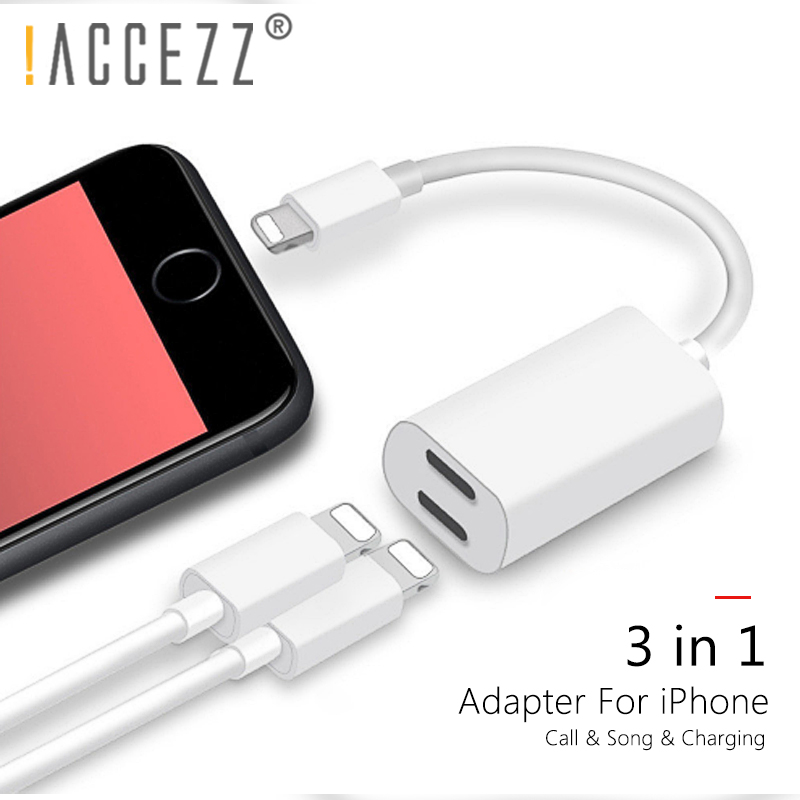 !ACCEZZ 3 IN 1 Dual Lighting Charge Earphone Adapter For IPhone X XR XS MAX 7 8 Plus Calling Listening Audio Charging IOS 11 12