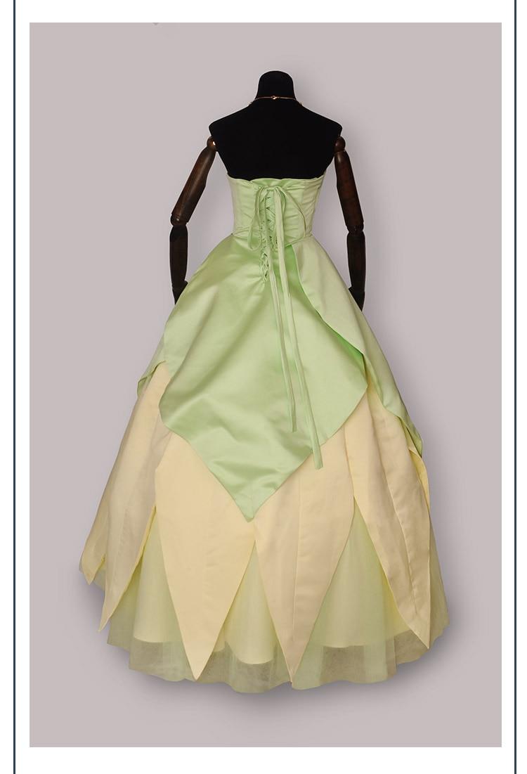 100%real luxury light green flower waist Tiana princess vintage ball ...