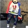 2016 Корейских детей осень мода мальчик мультфильм кролик Футболка цвет рубашки бесплатная доставка