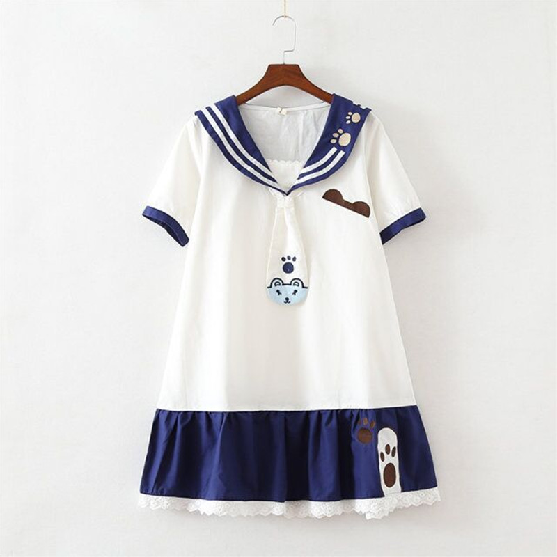 US $8.99 15% OFF|Aliexpress.com : Buy UPHYD Lolita Sailor Dress Cat Paw  Print Cute Teen Girls Plus Size Summer School Dress from Reliable Dresses  ...