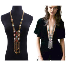 Exaggerated Round Rhinestone Alloy Necklace Bohemian Retro National Style Long Tassel Sweater Chain Boutique Necklace graceful rhinestone alloy sweater chain for women