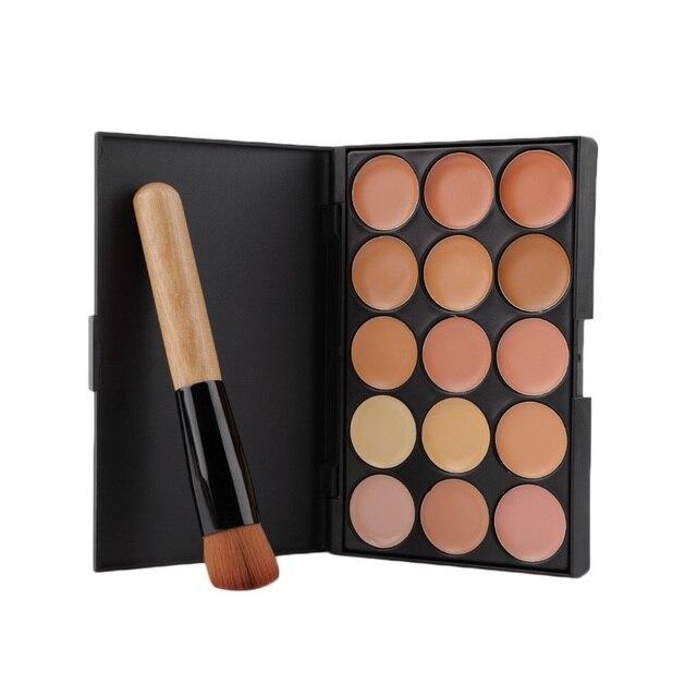 Juego de Herramientas de maquillaje profesional 15 colores corrector de cara paleta de sombra de ojos + juego de brochas anguladas planas con mango de madera