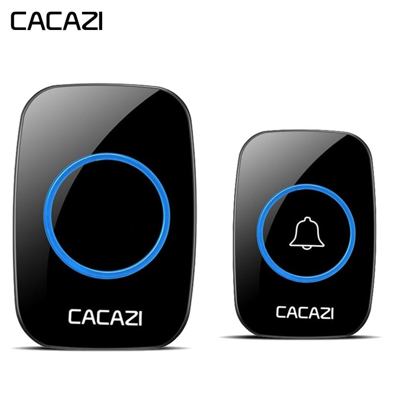 CACAZI neueste AC 100-240 v Wasserdichte Drahtlose Türklingel 38 ringe 3 volumen tür chime 300 mt remote digital tür glocke EU/US/UK stecker