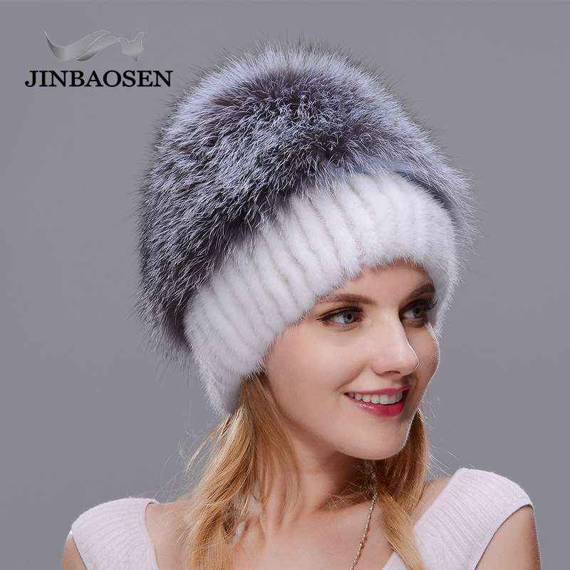2018New mujeres invierno ruso piel moda piel real sombrero Piel de visón natural zorro tejido lana esquí sombrero caliente oreja protección de sombrero - 5