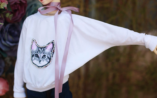BJD doll shirt white cloth T shirt with Nail bead cat printing Hoodie for 1/3 1/4 BJD SD DD MSD doll clothes accessories  2