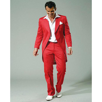 new Stylish Red Men Suit With Long Jacket Best Mens Suits For Weddings Handsome Men's Show Tuxedos (Jacket+Pants)