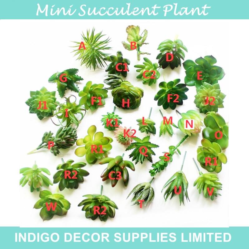 10pcs Mini Size Artificial Succulent Plant Desert Rose Plastic Flower Green Plant Table Wall Decoration Free Shipping