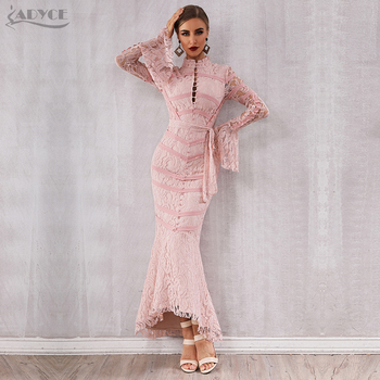 8e7cb3ee5f3 Adyce 2019 новое летнее женское Бандажное платье Сексуальное розовое черное  кружевное с длинным рукавом Русалка длинное платье для вечеринки з.