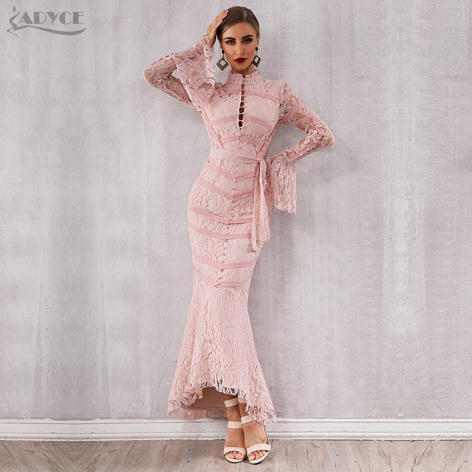 Adyce 2019 New Summer Women Bandage Dress Sexy Pink Black Lace Long Sleeve Mermaid Maxi Club Dress Celebrity Party Dress Vestido