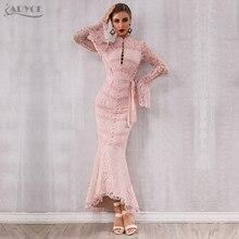 Adyce 2019 New Winter Women Bandage Dress Sexy Pink Black Lace Long Sleeve Mermaid Maxi Club Celebrity Party Vestido