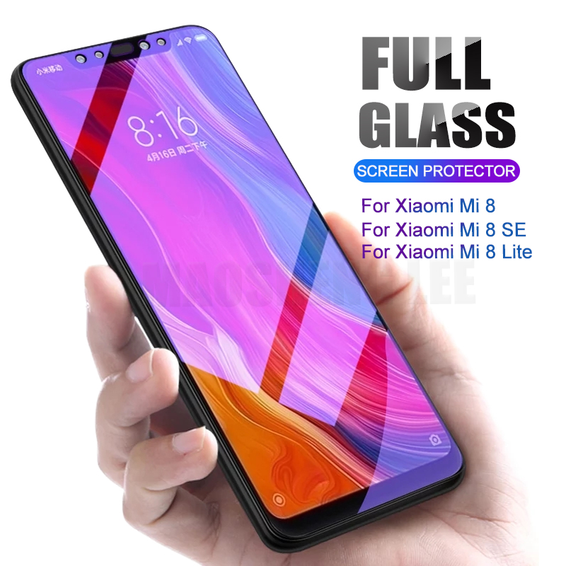 2Pcs/lot Full Tempered Glass For Xiaomi Mi 8 SE Explore Glass Screen Protector 9H 2.5D Anti Blu-ray Glass For Xiaomi Mi 8 Lite