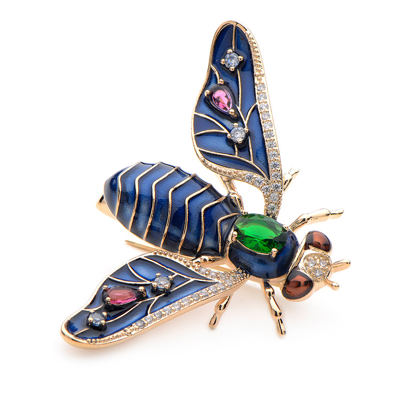 WULI /& BABY Copper Crystal Bee Insects Brooch Pins Banquet Party Brooches