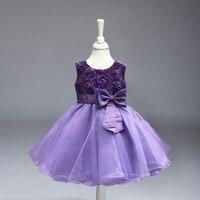 Retail Christmas Kids Girl Dress Pink Children Party Dress For Summer Princess Dress 6 Color Size