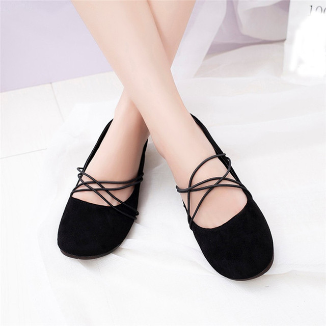 e10b5a1d501 2018 New Fashion Women Shallow Leather Ballet Flats Cross Strap Flat Shoes  Ladies Slip On Casual