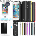 6800/3800mAh External power bank case Power pack Charger Backup Battery Case For iphone 6 6s Plus with USB line Tempered glass
