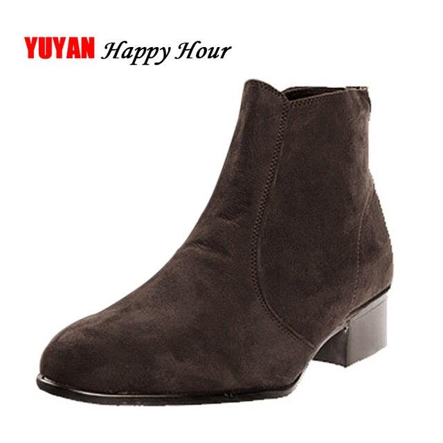 a4ff6fc4e4a3 Nowy 2019 jesień i wczesną zimą buty mężczyźni Chelsea buty niskie  kwadratowe obcas mody buty męskie