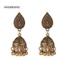 Antique Gold Handmade Indian Tribal Jhumki Jhumka Earrings Bohemia Vintage Engraved Flower Bridal Party Accessory Ear Jewelry