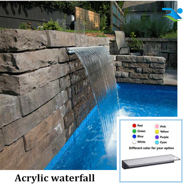 2100mm 150mm Long Lip Swimming Pool Waterfall With Led Remote