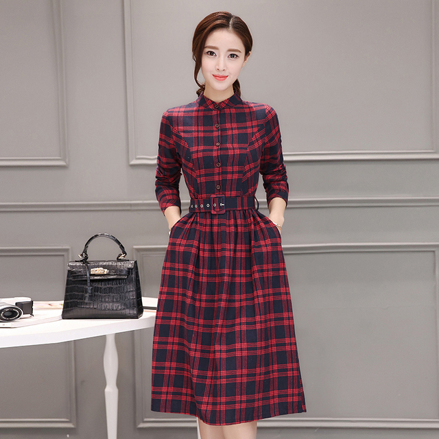 2019 Autumn Winter Plus Size Red Plaid Cotton Midi Dresses Women Elegant Korean Bodycon tshirt Dress Party Long Sleeve Vestidos 4