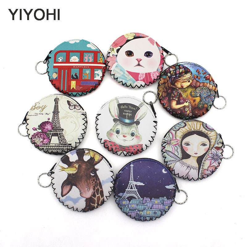 YIYOHI Fashion Cartoon PU Leather Graffiti Coin Purse Women Zipper Change Purse Wallet Girls Pouch Small Money Bag For Kids Gift 2017 new fashion women owl cute pu leather change purse wallet bag girls coin card money pouch portable purse small bag jan12