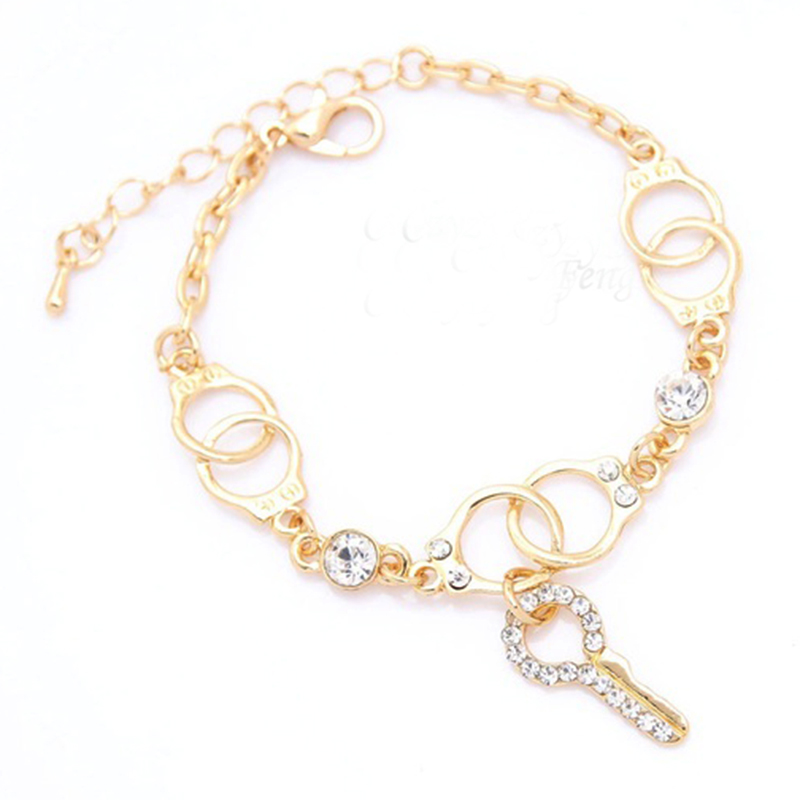 New Trendy Women Girl s key shape Austrian Crystal Bracelet Bangle Gift font b Jewelry b