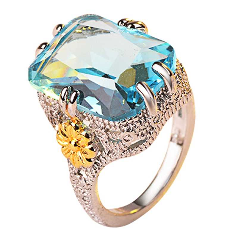Large Blue Stone Square Ring Sea Blue Crystal Rings For Women Wedding Jewelry Engagement Gift Color Ring