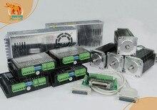 VS & EU Schip! Wantai 4 Axis Nema 23 Stappenmotor Dual Shaft 57BYGH115 003B, 428oz in + Driver DQ542MA 4.2A CNC Router Plasma
